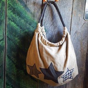Handbags - Burlap Purse with Stars NEW Shoulder Bag
